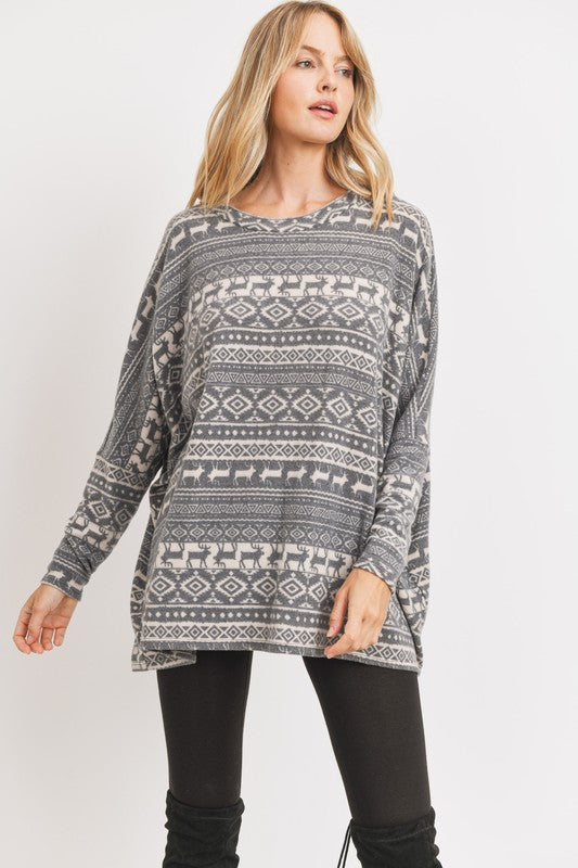 Run Run Rudolph Oversized Brushed Knit Reindeer Print Pullover Tunic, Gray