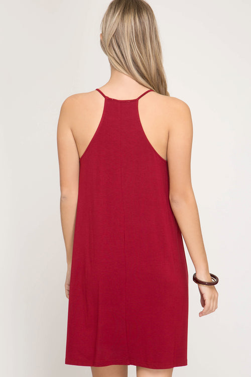 Sleeveless Knit Halter Dress, Red, S-L