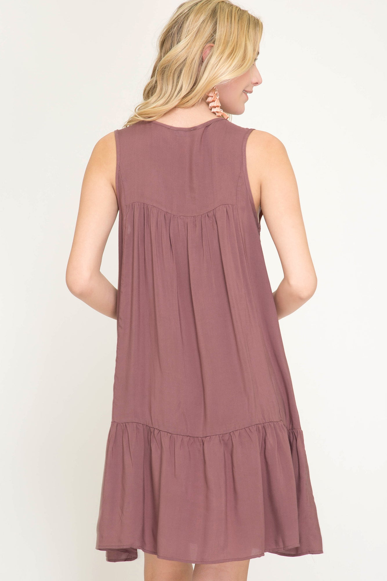 Mauve Sleeveless Embroidery Dress with Lace & Tassel Details, S-L