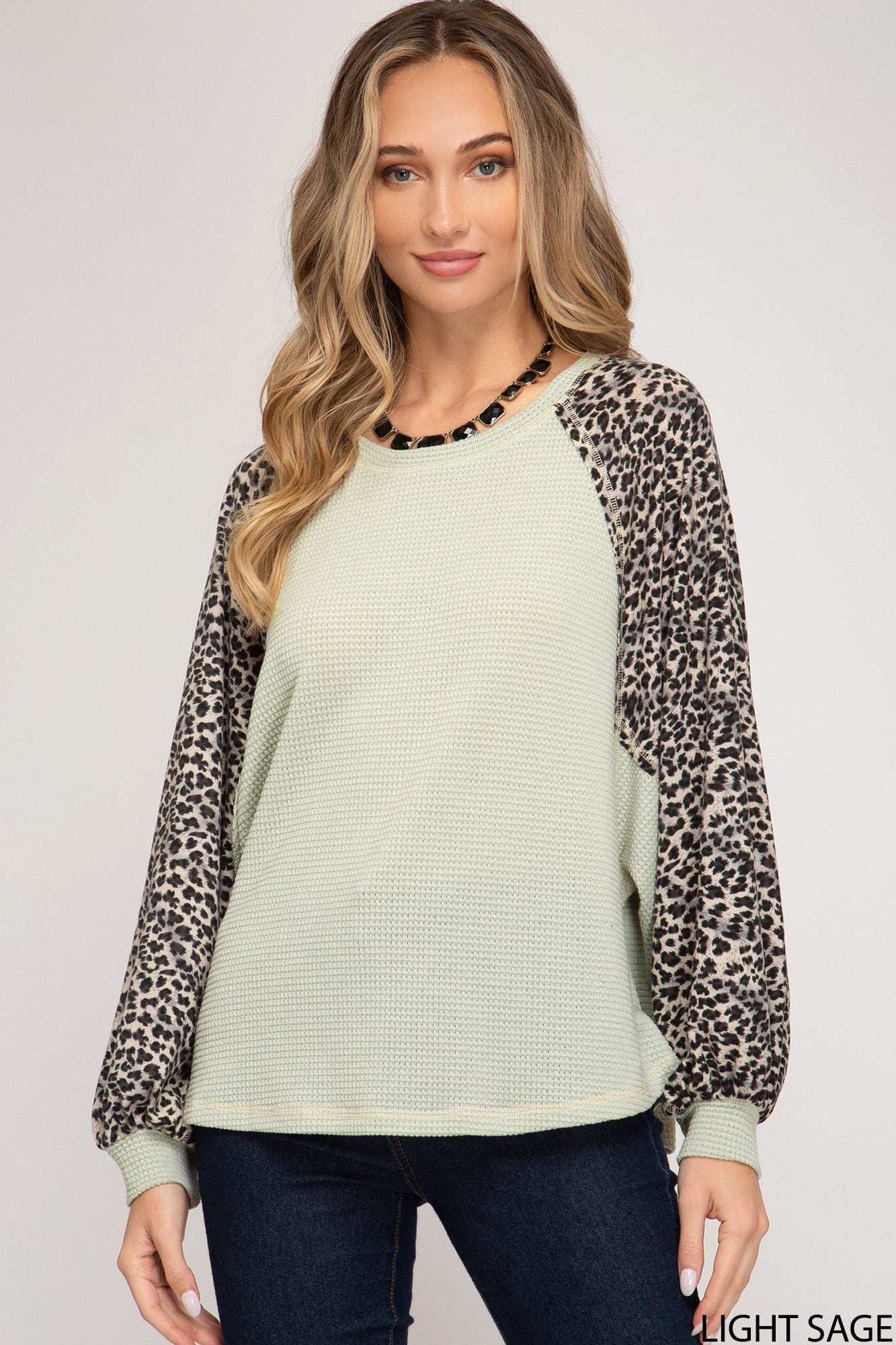 Round Neck Animal Print Dolman Long Sleeve Waffle Knit Top, Sage