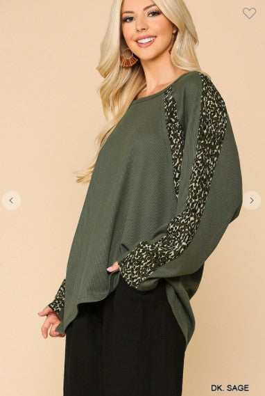 Ask Me Animal Print Mixed Soft Thermal Hi-Low Knit Top with Dolman Sleeve, Dark Sage