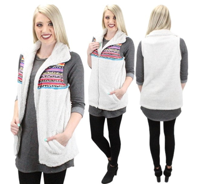 Take A Bow Sherpa Sleeveless Vest with Pockets & Front Zipper, Serape Details on Chest, Cream