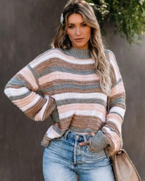 Blurred Lines Striped Oversized Sweater with High Mock Neck