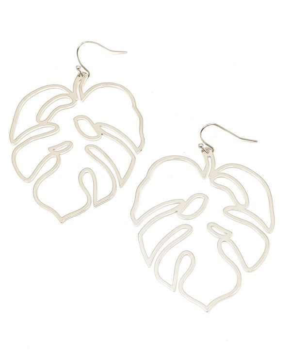 Tropicana Palm Shaped Light Weight Hook Earrings, 2 Color Choice Silver or Gold