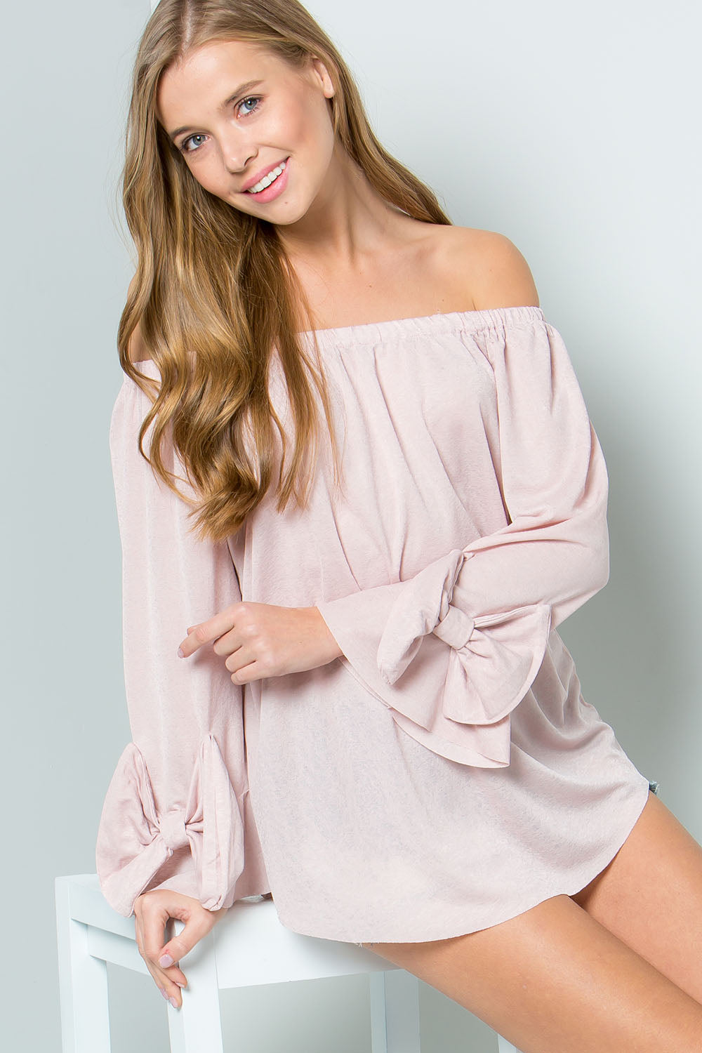 Straight Up Off Shoulder Top with Bow Tie Cuff Sleeves, Blush