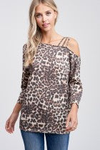 Strappy Off The Shoulder Knit Top with Dolman Sleeves & Banded Hem, Animal Print S-XL