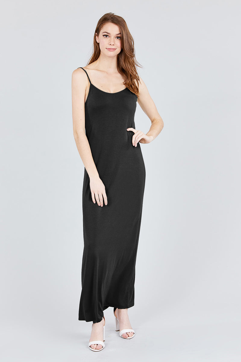 Don't Stop Believin' Adjustable Strap Double V-Neck Cami Maxi Dress, Black