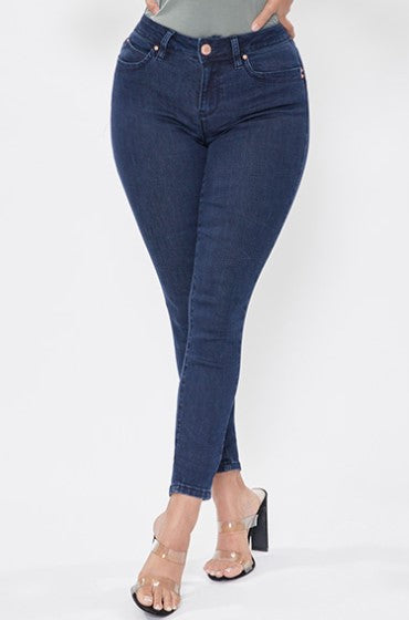 Big Sky Blues Non Destroyed YMI WannaBettaButt Mid Rise Skinny Jean Made with Recycled Fibers, Dark Wash