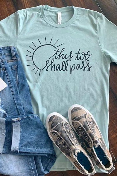 Bella Canvas This Too Shall Pass Graphic with Sun Design S-2XL, Blue