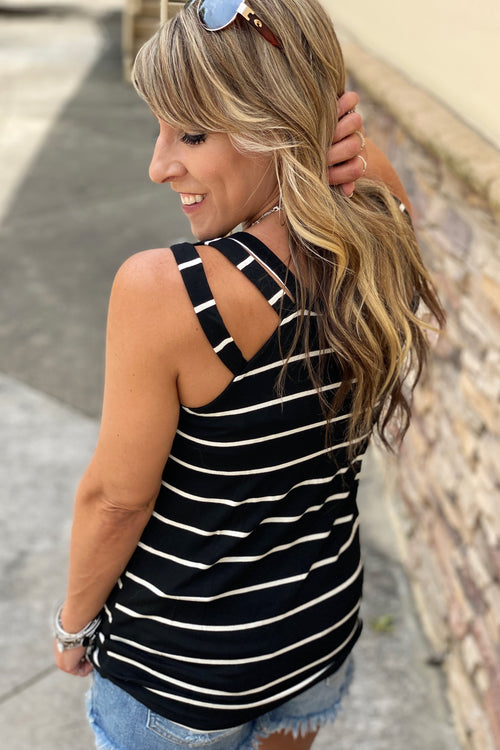 Striped Tank Top with Strappy Detail Shoulder, S-XL / Black & White