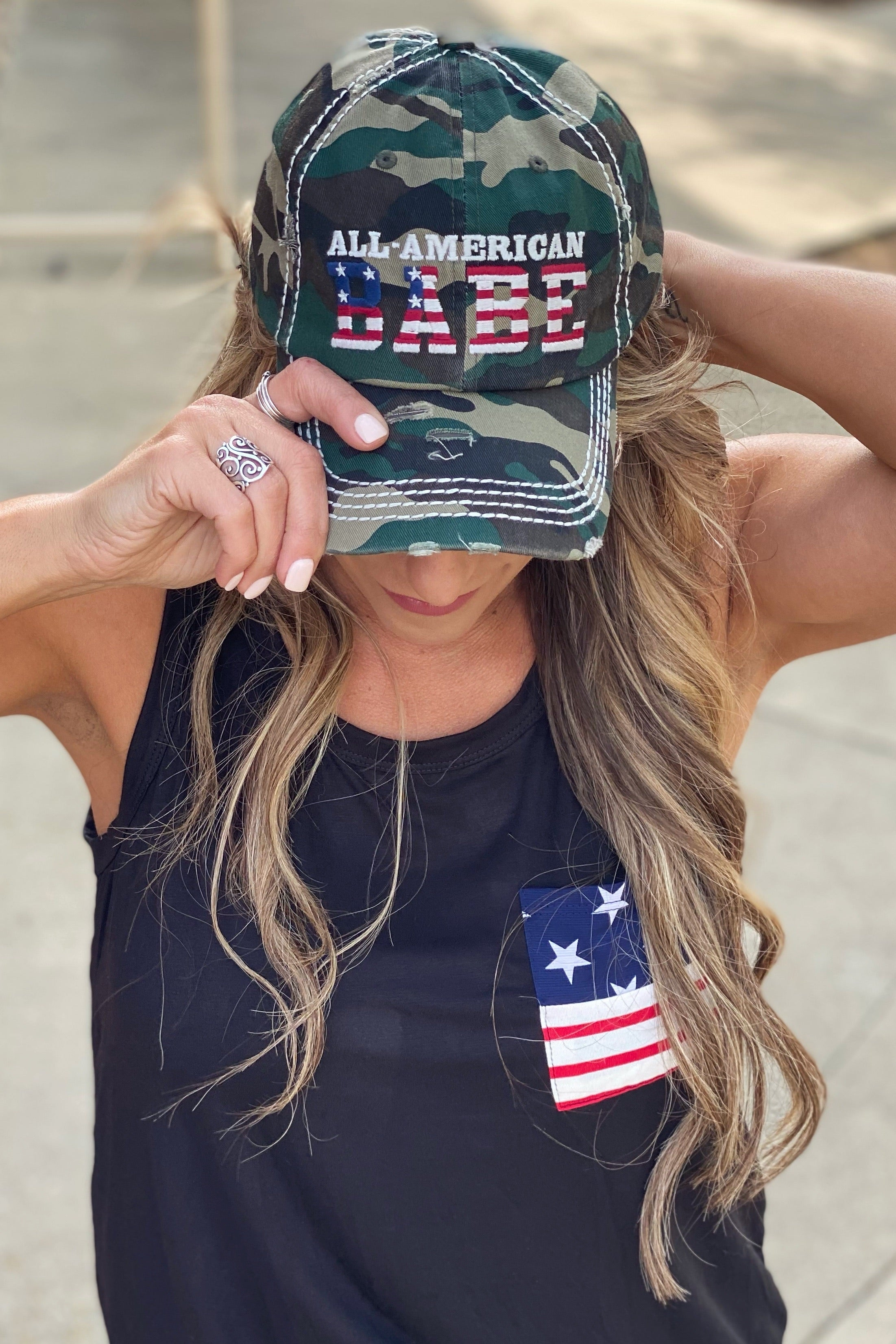 American Babe Distressed Camo Trucker Cap with Adjustable Back, USA Flag Detail on back