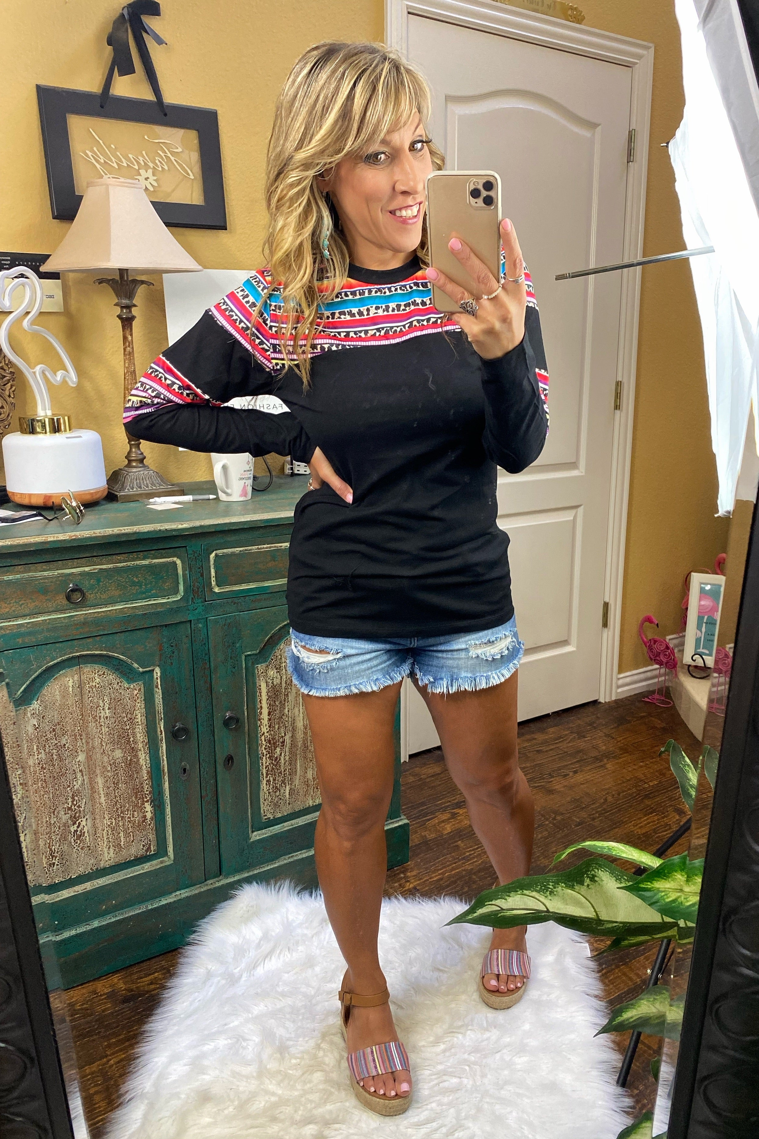 Let It Be Long Sleeve Leopard & Serape Top with Stripes, Black