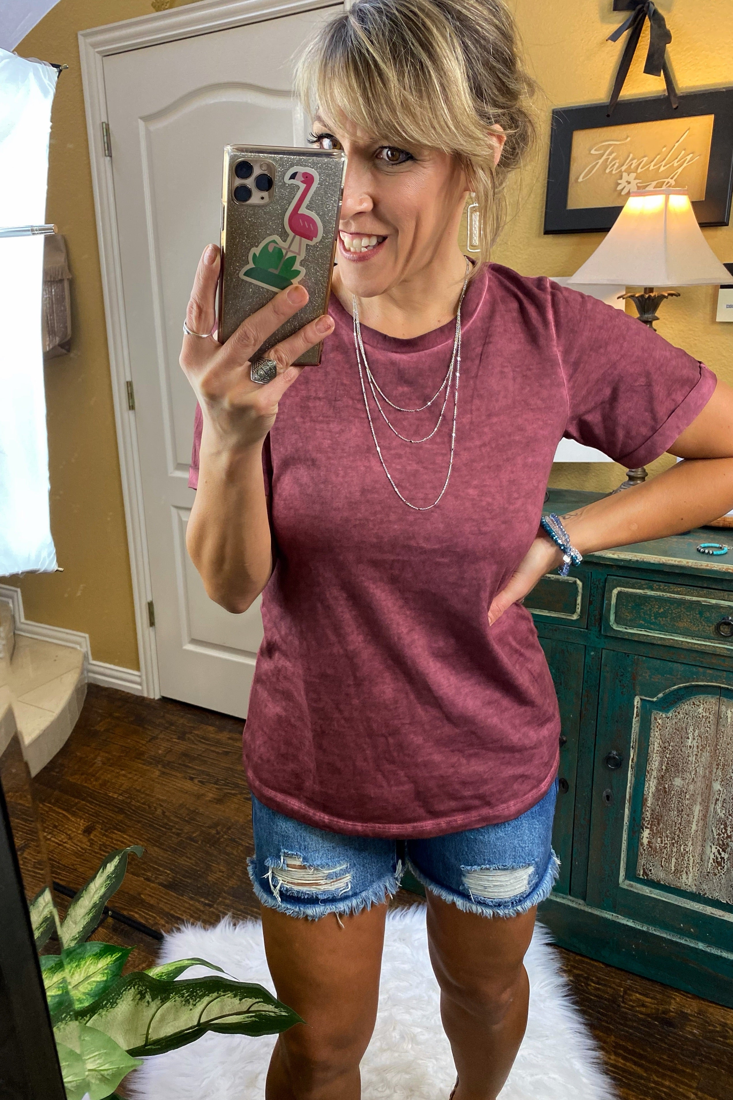 Stand Up Acid Wash Top with Cuffed Sleeves, Maroon S-XL