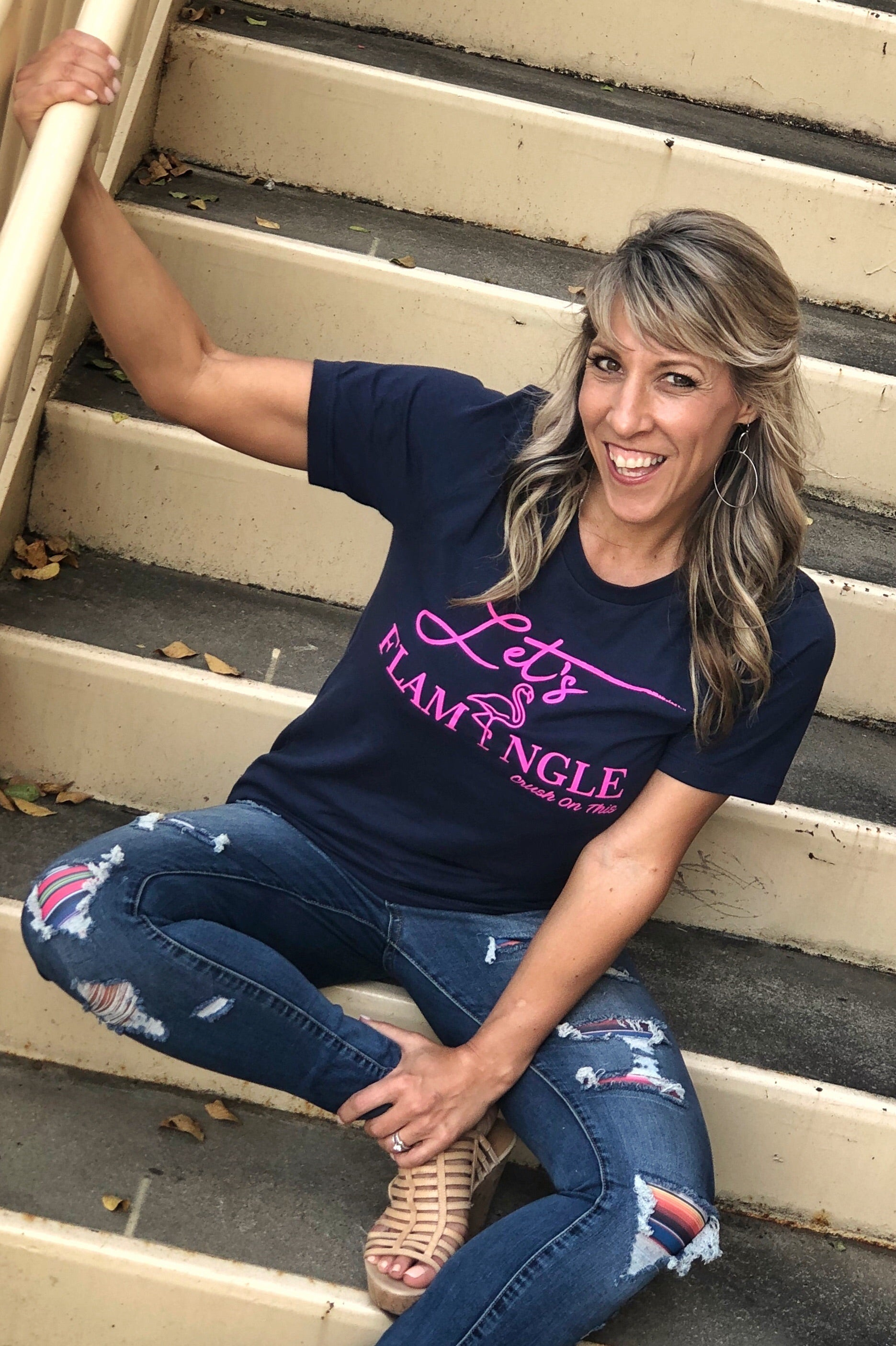 Let's Flamingle Tee by Crush On This, Short Sleeve Navy Tee with Pink Flamingo