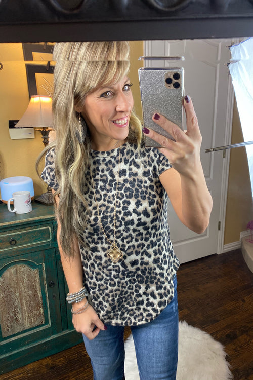 Objection Animal Print Knit Short Sleeve Top