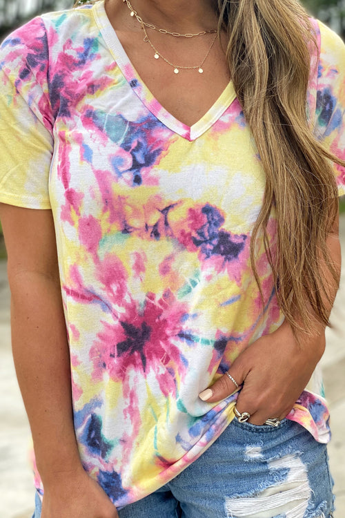 What Makes You Beautiful V Neck Tie Dye Top, Yellow and Fuschia