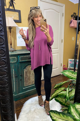 Night Shades Basic Scoop Neck Top with 3/4 Sleeves