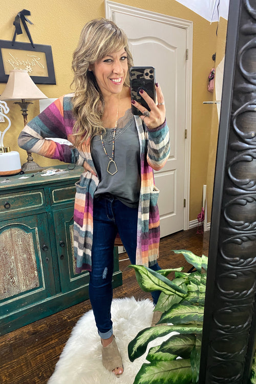 Love is Religion Striped Cardigan with Vibrant Multi Colors & Deep Pockets