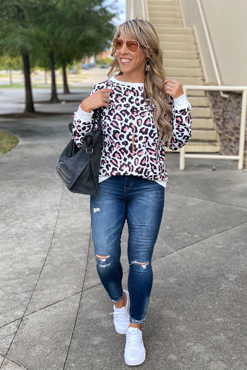 Sunday Morning Sizes S-2XL Animal Print Pullover Sweatshirt with Banded Hem