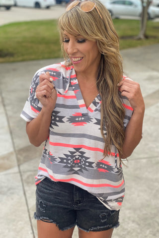 Time After Time V Neck with Bar Detail Animal Print Top, Blush