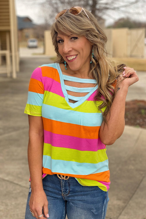 My Frequency Multi Stripe V-Neck Top with Contrast Strapped Front Neckline
