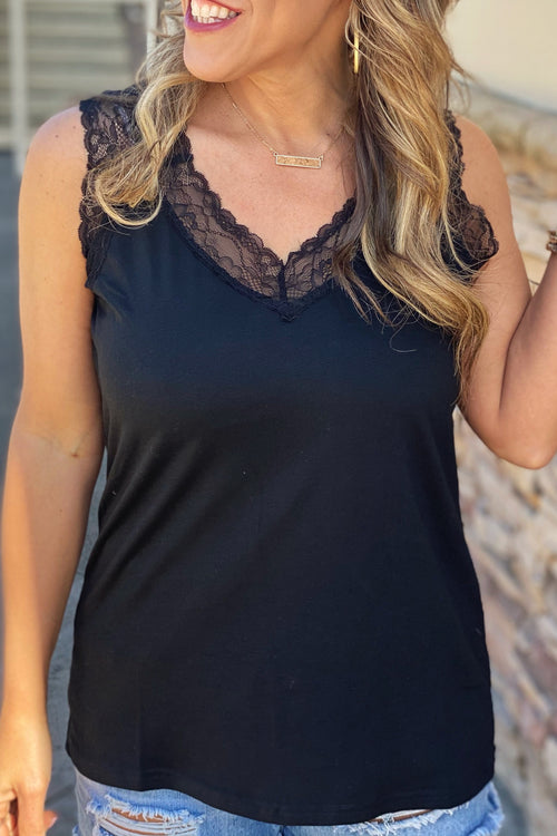 Hope Wins Black Tank with Lace Trim V Neck