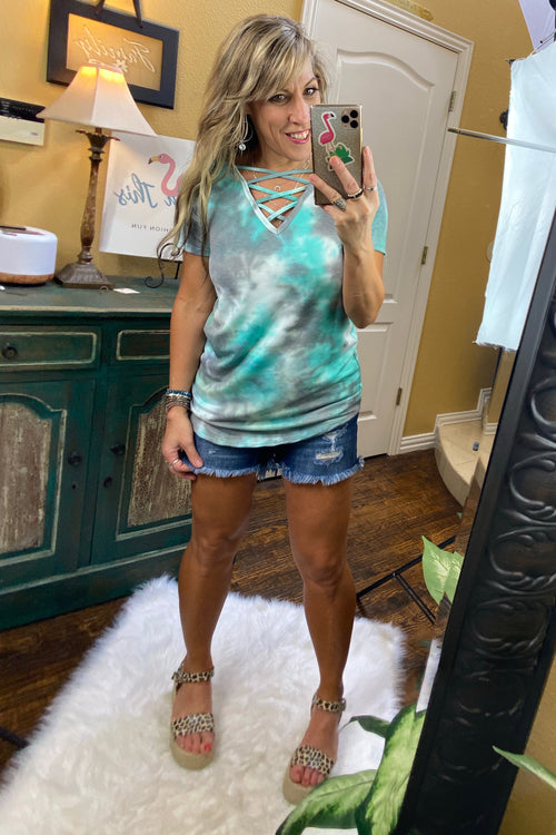 Tie Dye neck Crisscross Short Sleeve Top S-XL, Mint