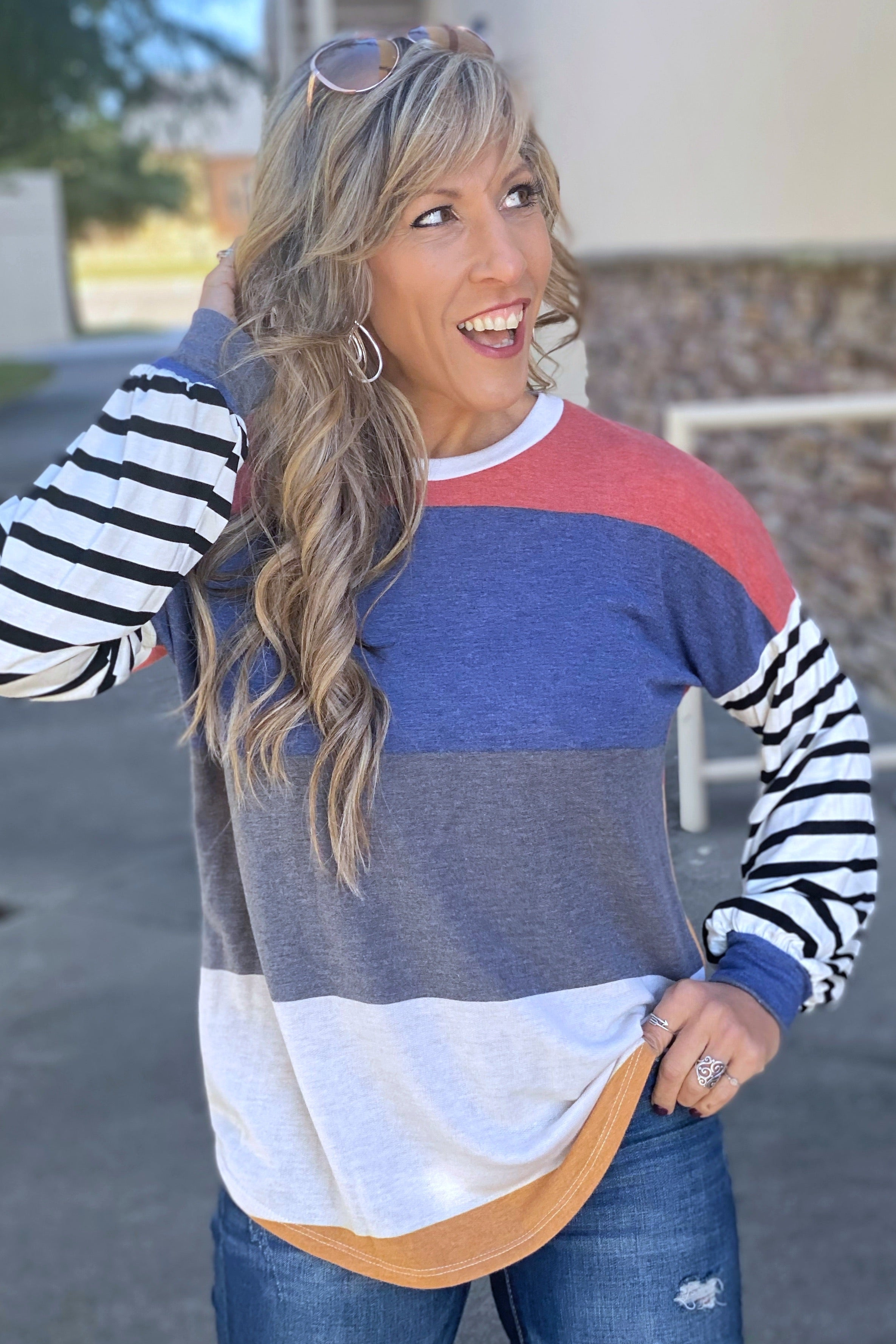 Girls Around Here Multi-Color Stripe Knit Pullover with Stripe Contrast Sleeves