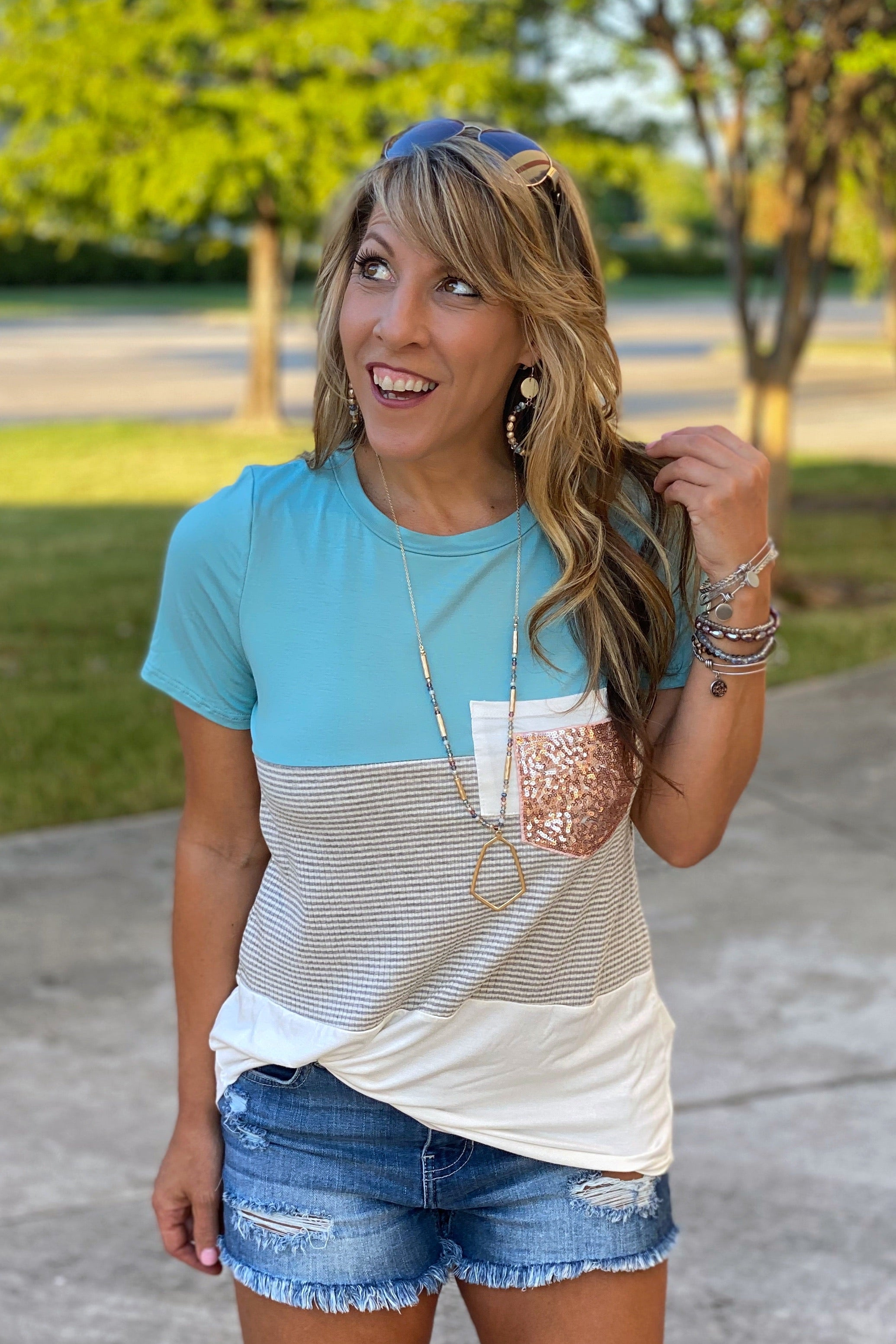 Short Sleeve Color Block Top with Double Pocket & Glitter Detail, S-XL