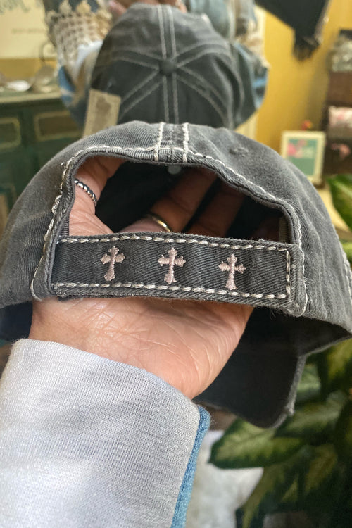 True Love Distressed Trucker Cap with Cross &  Velcro Back