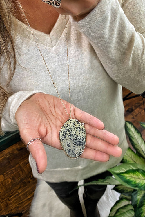 Curious Natural Stone Pendant & Metal Chain Necklace, Dalmatian Print