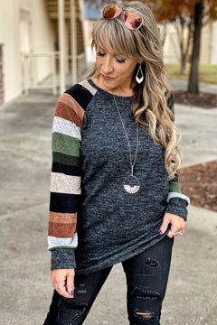 Heart of Gold Striped Long Sleeve Tunic with Banded Hem