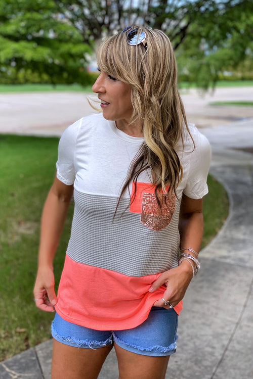 Short Sleeve Coral Color Block Top with Double Pocket & Glitter Detail, S-XL
