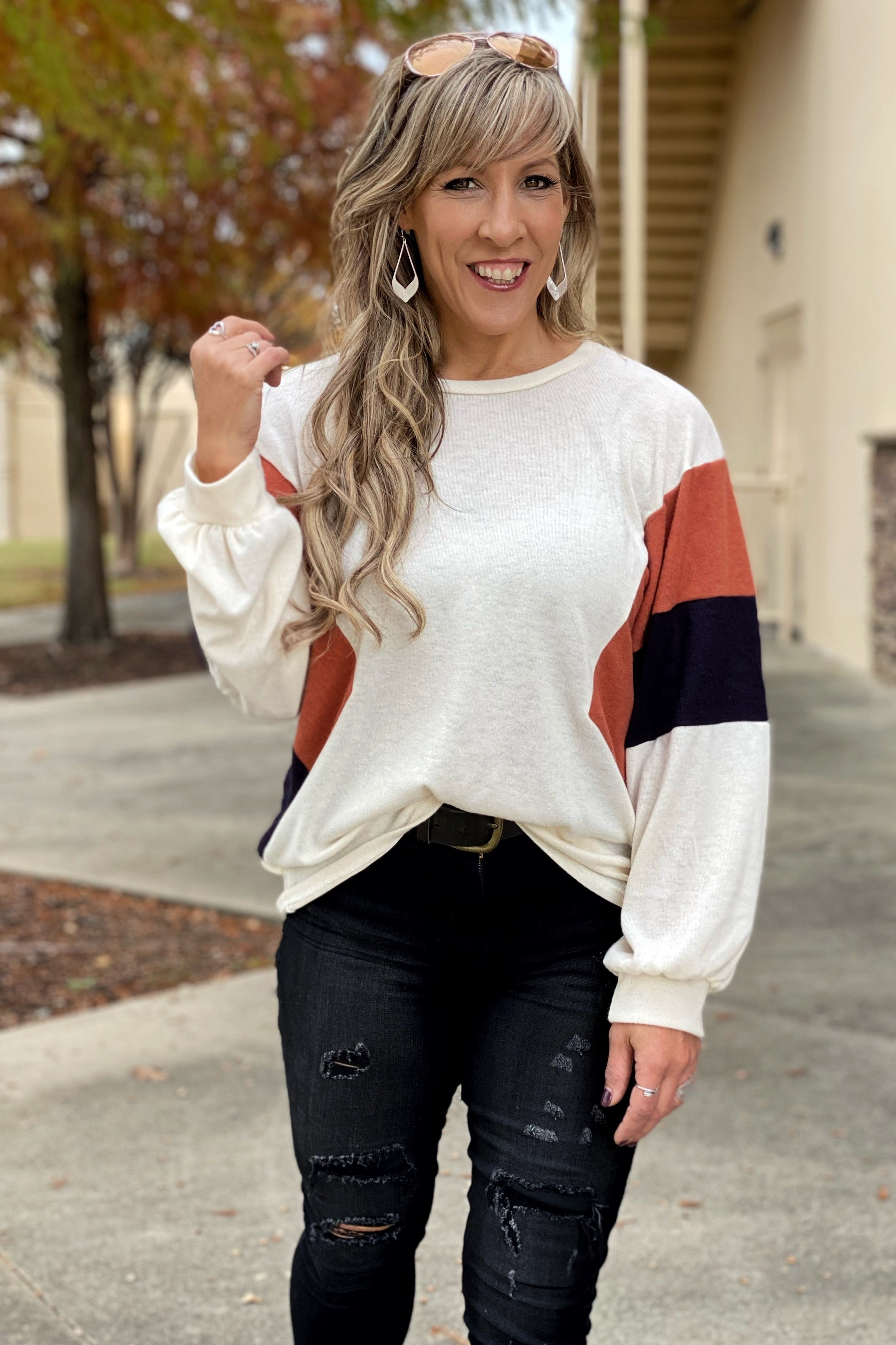 Wild, Wild, Love Women's Hacci Brushed Color Block Pullover Top, Dark Navy Cream