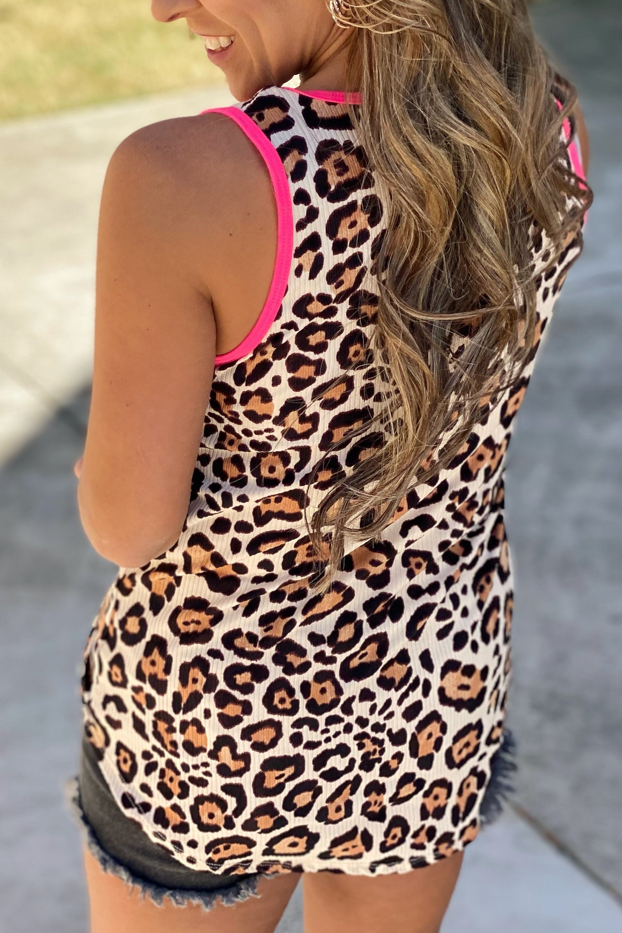 Big Star Sleeveless Animal Print Ribbed top with Pink Trim