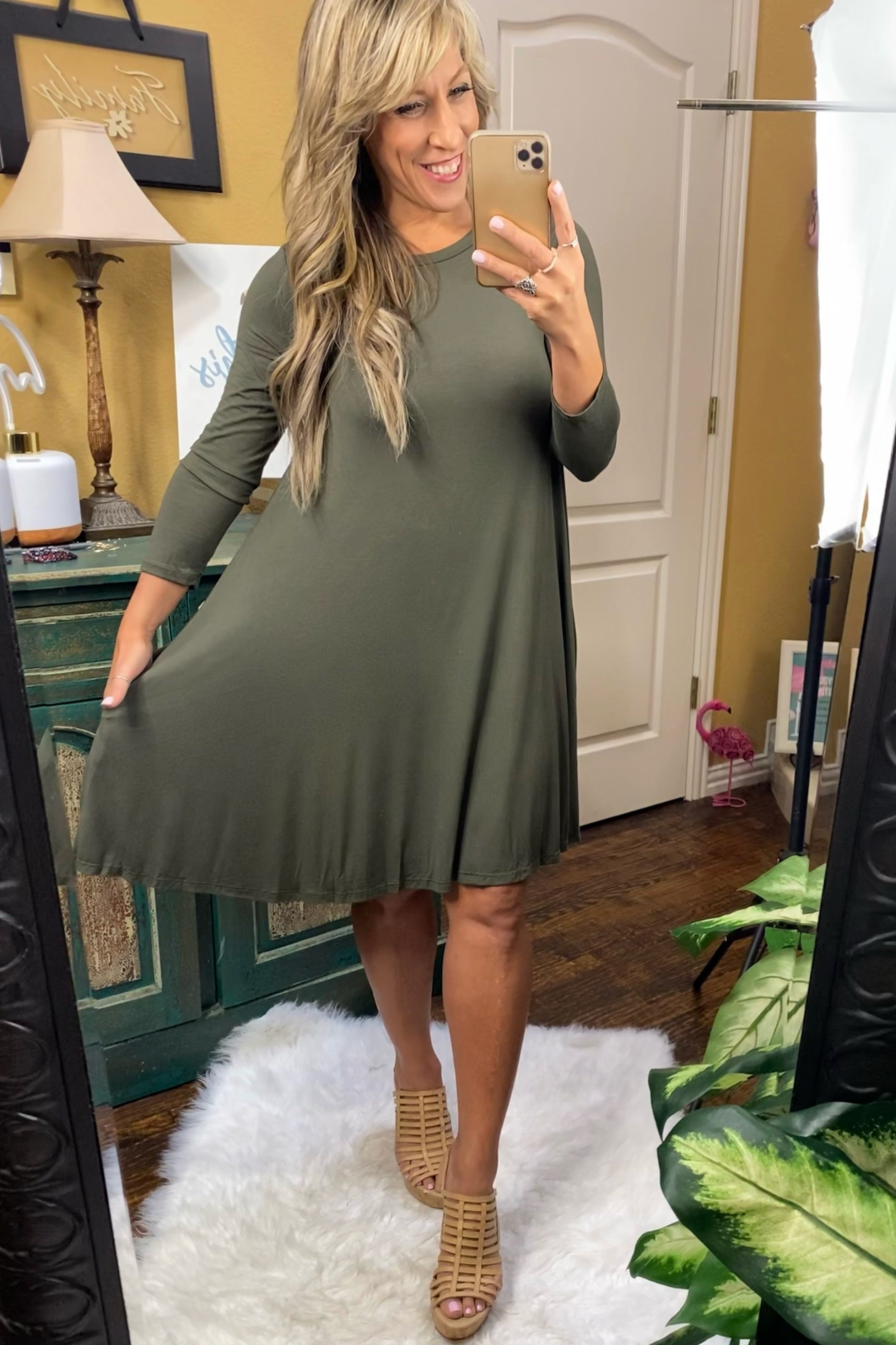 Heartbeat Solid A-line Dress with hidden pockets & 3/4 sleeves, Olive