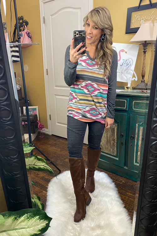 Bound To You Tribal Long Sleeve Raglan Tunic