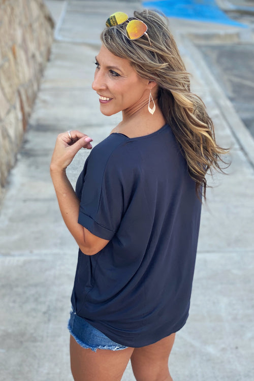 Classic Navy Super Flattering Fitting Surplice Front V Neck Short Sleeve Top with Hi-Lo hem, S-L