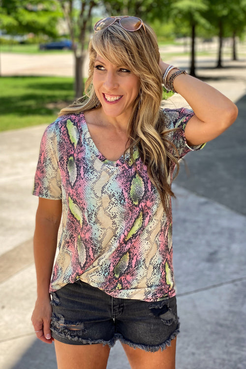 Snakeskin Print Jersey V Neck Top, Blue / Yellow Multi-color, S-XL