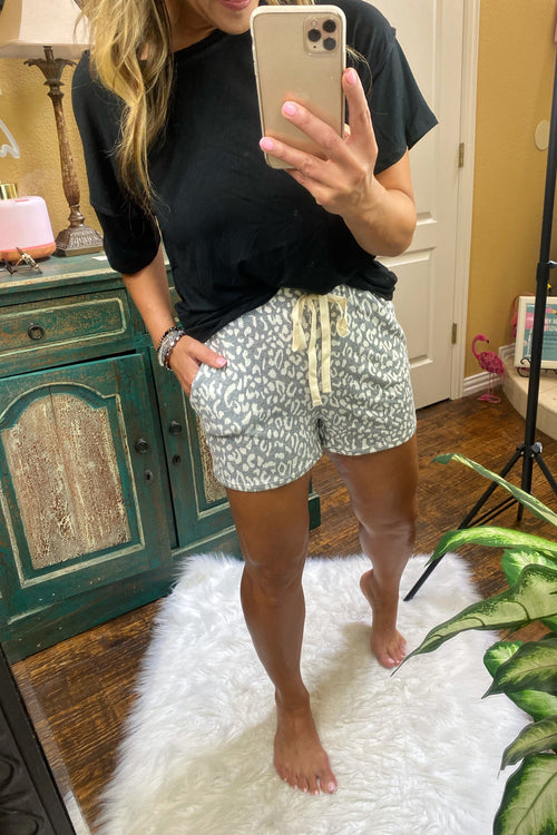 Animal Print Triblend Lounge & Chill Shorts with faux drawstring and pockets, Gray, S-XL