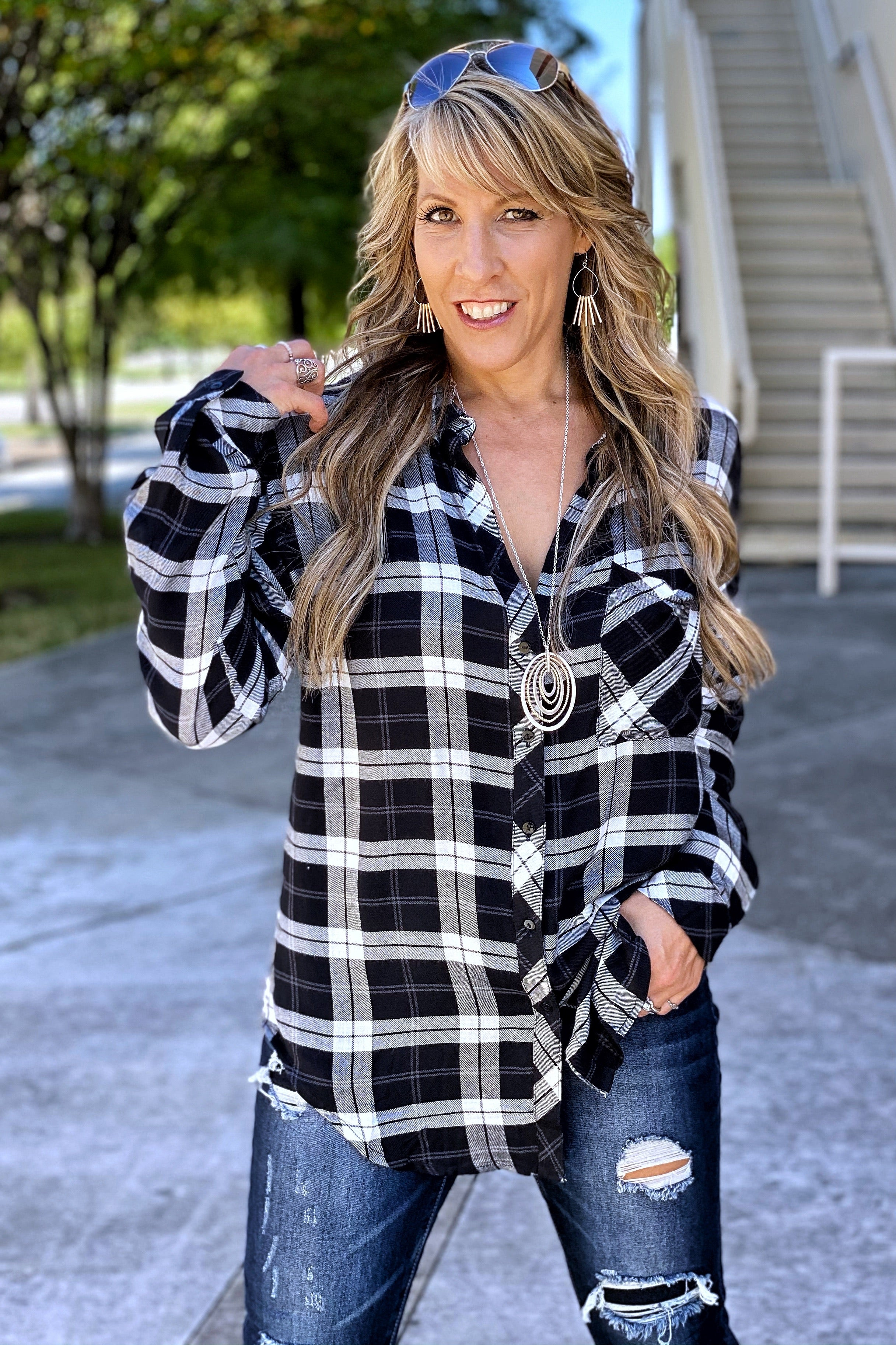 Happy Life Slightly Oversized Button-Down Plaid Shirt
