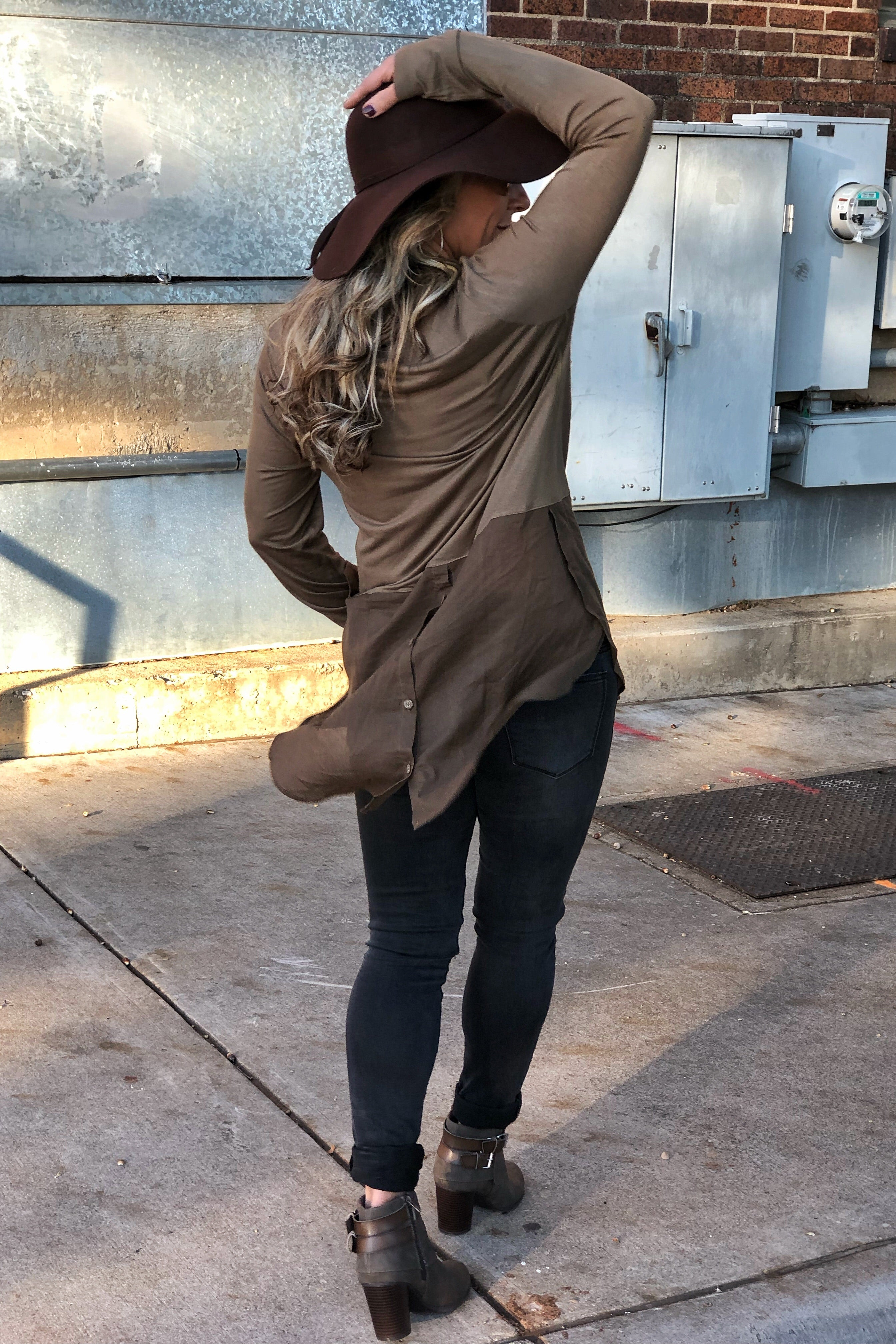 Remember The Time Vintage Olive Cowlneck Tunic