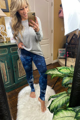 Hey Baby, If you'll be my girl Elastic Waist High Rise Buttery Soft tie dye Print Leggings, Blue