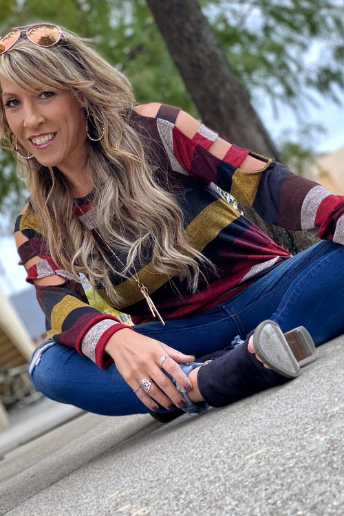 I've Got You Long Sleeve Crew Neck Multi Striped Top with Shoulder Cutouts & Banded Hem