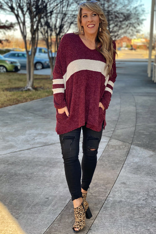 Angel Color Block V Neck Sweater Tunic with Hidden Pockets and Split Hem