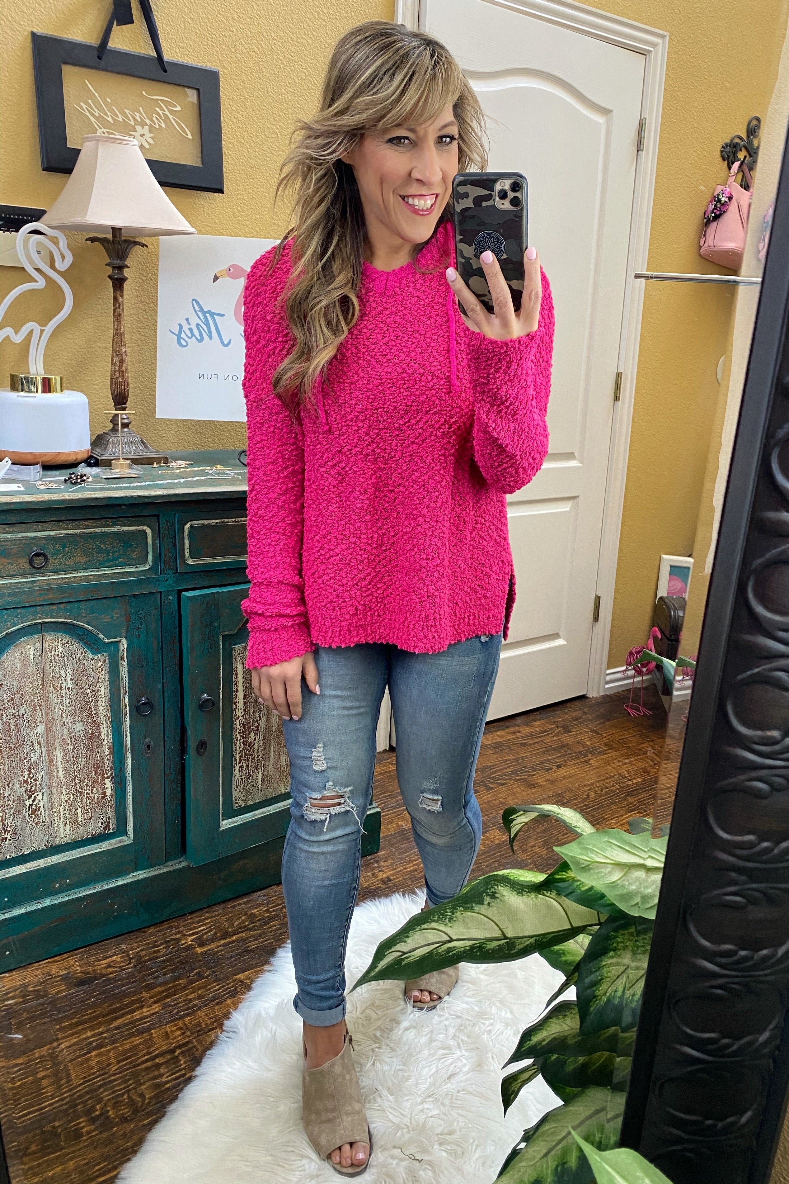 Shake That Fuschia Colored Soft Popcorn Hoodie Sweater with Split Hem