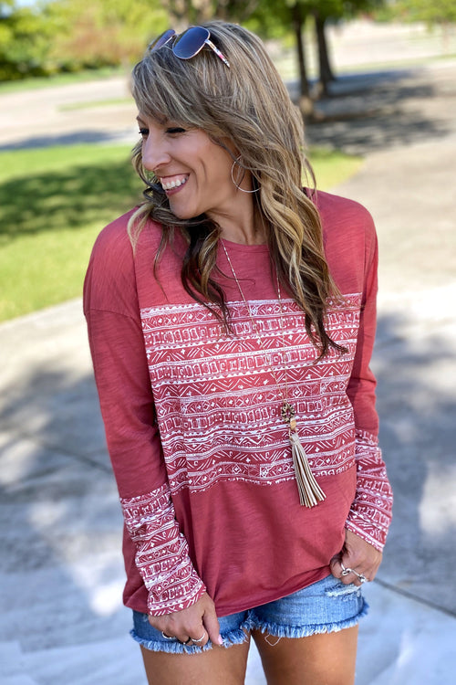 Always On My Mind Long Sleeve Scoop Neck Mix Print Tee, Coral, S-L