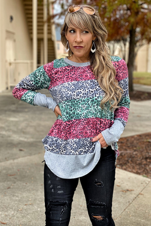 So Good Long Sleeve Light Weight Pullover Top with Multi Color Animal Detail