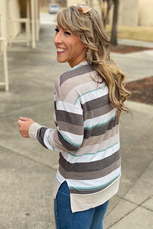 Nothin' But Love Long Sleeve Multi-Stripe Split Hem Tunic with V Neck, Taupe