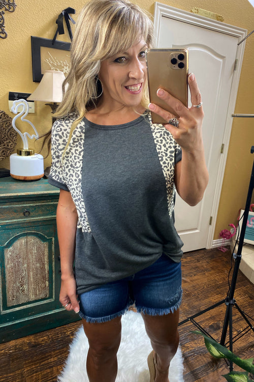 New! Charcoal & Animal Print Contrast Top, S-L